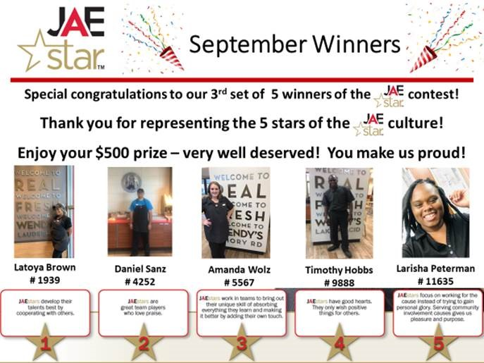 JAE Star September Winners